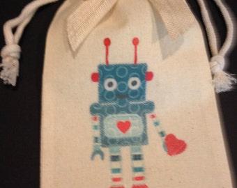 Gift Bag/pouch, Muslin, Robot