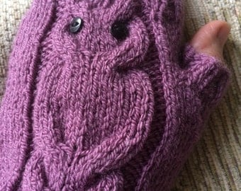 Owl Arm Warmers Fingerless Gloves Grape colour Ready to Ship