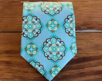 Mens Necktie - Blue Medallion Print Cotton Neck Tie for Men and Teen Boys