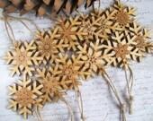 Wood snowflake Christmas ornaments rustic decorations natural wood oak centre set of 12