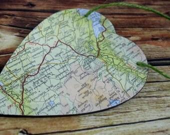 Map Wood Hanging Heart. Travel Home Decor, Modern Rustic, Valentine, Traveler/Explorer Gift.