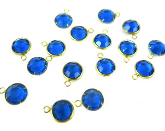 Vintage Capri Blue Swarovski Channel Charms (12mm) (6X) (S571)