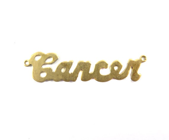 Brass Astrological Name Plate Pendants - Cancer - (2X) (A615-A)
