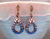Art Deco Style Drop Earrings, White and Blue Glass Stones, Brass Dangle Earrings, FREE Shipping U.S.