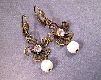 Pearl Earrings, White Glass Rhinestones and Pearls, Brass Dangle Earrings, FREE Shipping U.S.