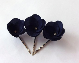 3 Navy Blue Flowers Hair Pins