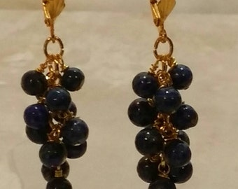 Blue Lapis Cluster Earrings on GP Hypoallergenic Leverbacks