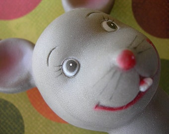 "Vintage Baby MOUSE Puppet Head Plastic Made in Hong Kong 4"" three-dimensional full round"