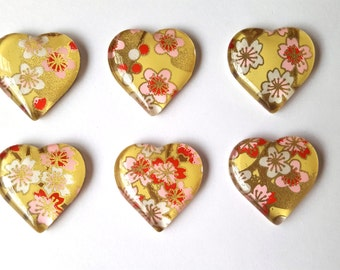 Floral Chiyogami Glass Magnets. Set of 6 Heart Magnets. Flowers on Yellow Background. Magnets Made with Yuzen Chiyogami Paper.