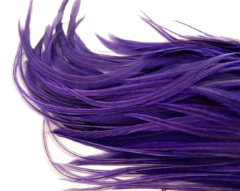 12 PURPLE Hair Feathers, Thick Feather Hair Extension, 5 to 7 Inches Long
