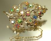 Large vintage, estate 1950s/ 60s glam gold plated & aurora borealis/ rhinestone/ paste, leaf costume brooch / pin - jewelry jewellery