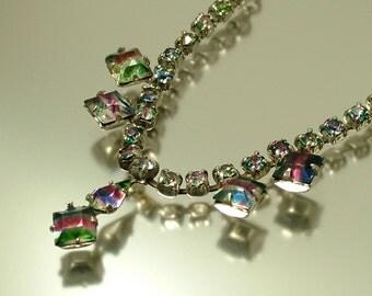 Vintage jewelry 1950s Art Deco glam chrome & rainbow iris glass diamante rhinestone/ paste costume necklace -  jewellery stocking filler