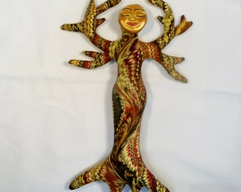 SALE Metallic Magic Tree of Life Fantasy cloth art doll form w/face cab 11 in. You finish it Bead Decorate