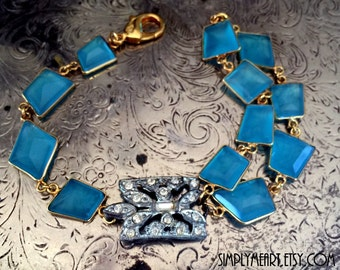 Vintage Art Deco Rhinestone and Chalcedony Chain One of a Kind Bracelet...Scandal Two