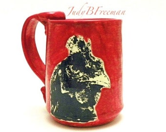 Angry Rooster Ceramic Stoneware Mug on Bright Red Made to Order MG0056