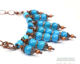 Rustic Copper Pendant Necklace with Turquoise PN2470