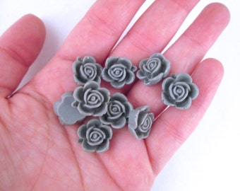 10 15mm Grey Rose Cabochons, Gray Flower Cabochons