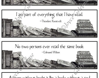 Printable Bookmarks: Pencil Drawing of Books, Quotes About Reading and Books, Literacy, Instant Download