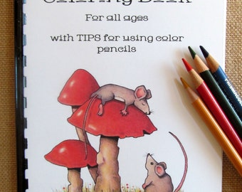 Little Coloring Book for All Ages, 19 Original Drawings, Hand Drawn, OOAK Drawings to Color, with Color Pencil Tips, Samples