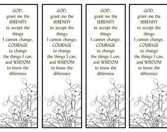 Printable Bookmarks, Hand Drawn Poppies, Serenity Prayer, Flowers, Prayer, Faith, Color Your Own: Instant Download
