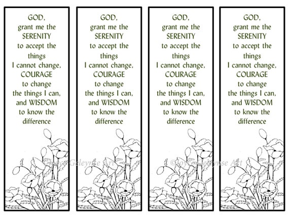Printable Bookmarks Hand Drawn Poppies Serenity Prayer Flowers Faith Color Your Own Instant Download