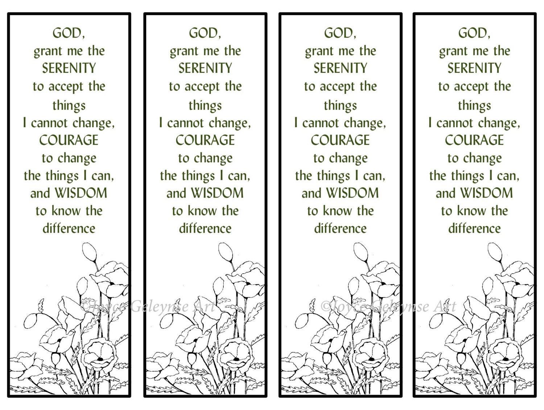 Printable Bookmarks Hand Drawn Poppies Serenity Prayer