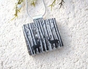 Petite Deer Jewelry, Birch Tree Necklace, Dichroic Jewelry, Dichroic Pendant, Forest Scene, Fused Glass Jewelry, Silver Necklace, 072816p101