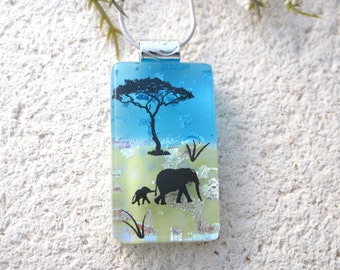 Smal Elephant Necklace, Dichroic Pendant, Mother & Baby Elephant Necklace, Fused Glass Jewelry, Dichroic Jewelry, Safari Jewelry, 081216p10