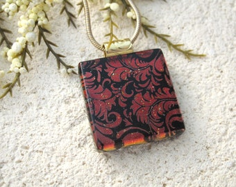 Red Black Necklace, Dichroic Jewelry,Glass Jewelry, Fused Glass Jewelry, Dichroic Pendant, Deep Red Necklace, Necklace Included 102115p103