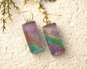 Pink Green Dichroic Earrings, Pink Green Earrings, Fused Glass Jewelry, Dichroic Earrings, Gold Filled Earrings, Glass Jewelry.  012316e100