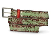 Teeth Mauve Leather Belt, Mens Belt, Womens Belt, Teeth Leather Belt, Teeth Belt, Mauve Belt, Custom Leather Belt