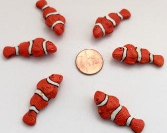6 Clown Fish Beads -Slightly Defective-