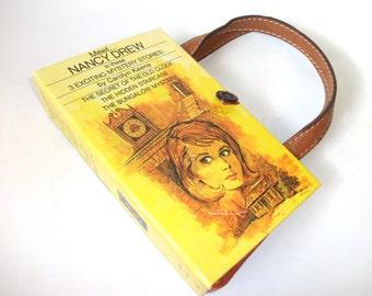 Nancy Drew Book Purse, Vintage Handmade Book Clutch,  Womens Handbag - 3 Stories in 1 book