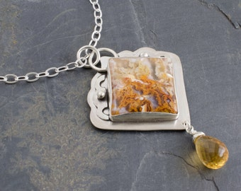 Sand Dunes Necklace. Graveyard Plume Agate. Citrine and Silver Pendant. Gemstone Necklace. Cabochon Jewelry. Plume Agate Jewelry.