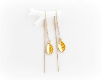 Gold Filled Threader Earrings - Leaf Charm Thread Through Dangle Earrings -  Delicate Ear Threads