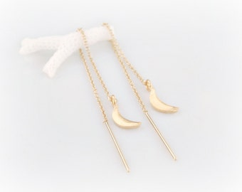 Moon Threader Earrings - Gold Ear Threads - Lunar Thread Through Earrings