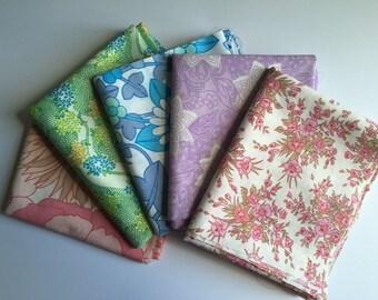 Set of 5 retro fat quarter fabrics 70's