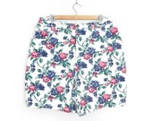 Sz 16 Floral High Waisted Denim Shorts - Vintage 80s 90s Women's High Rise White Rose Print Jean Shorts