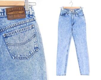 Size 2 Jordache High Waisted  Acid Wash Mom Jeans - Vintage 80s Women's Slim Fit Tapered Leg Blue Jeans