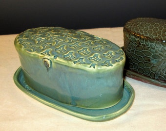 DISCOUNTED Handmade Butter Dish with Stamp Design in Turquoise Green