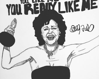 Sally Field 9x12 You Like Me original ink line drawing