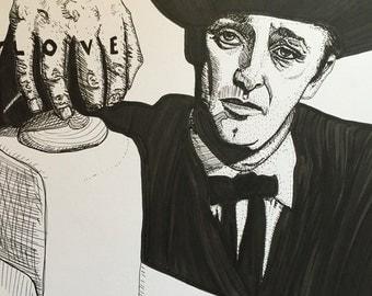 Robert Mitchum 9x12 original The Night of the Hunter ink line drawing