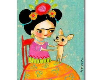 ORIGINAL acrylic painting on canvas FRIDA Kahlo with CHIHUAHUA dog dancing sweet puppy artwork happy folk art by Tascha