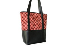 Vegan Leather Shoulder Tote Bag - Leather Tote Bag Tablet Pocket - Shoulder Bag Tablet Pocket - Red Plaid Fabric Tote