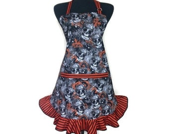 Day of The Dead Apron, Sugar Skulls, Día de los Muertos, adjustable with pocket,  Retro Mexican Kitchen Decor, Black and Orange