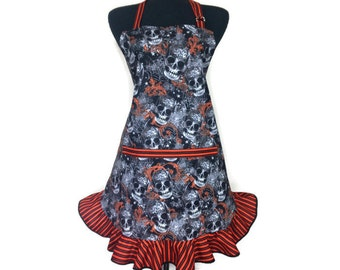 Day of The Dead Apron, Sugar Skulls, Día de los Muertos, adjustable with pocket,  Retro Mexican Kitchen Decor, Black and Orange / Halloween