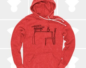 Literary Gift, Men's Hoodie Pullover Sweatshirt, Sunday Morning, Men's Clothes, Zen, Library, Gift for Writer, Gift for Husband, Men's Gift