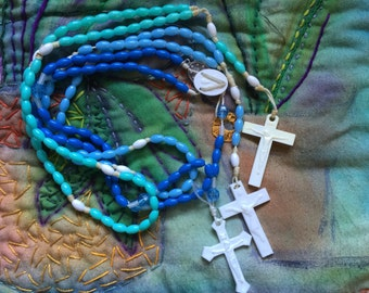 SALE Vintage 3 Piece Collection of Travel String Rosaries with Blue and Turquoise Beads