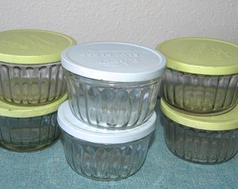 Six Vintage Jelly Jars with Painted Lids - Happy Storage