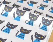 Japanese Fabric - Putidepome - cats - blue - 50cm